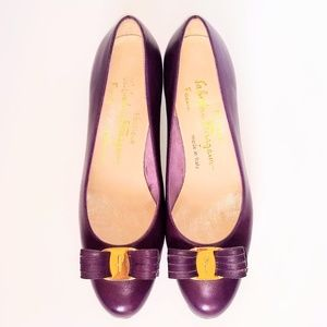 Salvatore Ferragamo Purple Plum Vara Heel Slipper